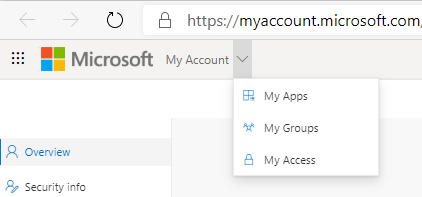 My Apps, My Groups and My Access in the My Account Portal
