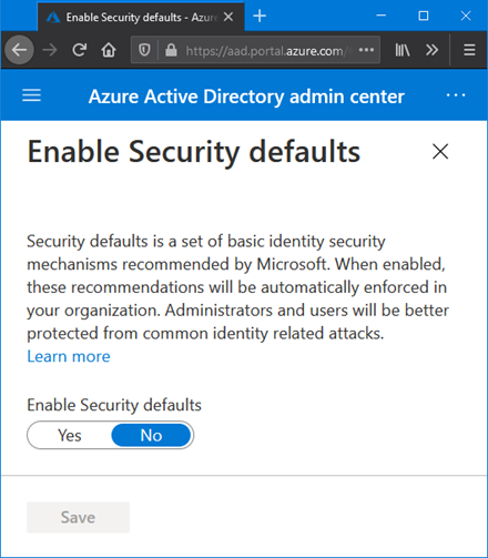 Enable Security defaults