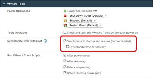 The 'Synchronize time periodically' setting in the VMware Tools section of the VM configuration in VMare vSphere 7.0 Update 1
