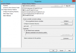 AADSync - Directory Partitions