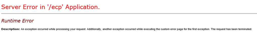 Bad request (HTTP 400 error) in Exchange 2013 OWA/ECP